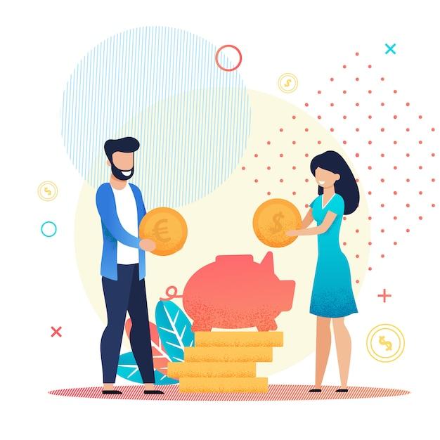 Couple marié économiser de l'argent dans la métaphore de la tirelire Vecteur Premium