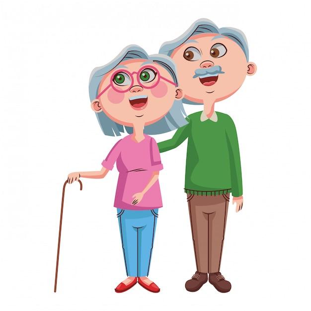 Couple mignon de grands-parents Vecteur Premium