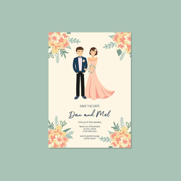 Couple mignon portrait illustration invitation de mariage save the date template Vecteur Premium