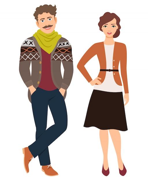 Couple de mode en vêtements décontractés. homme en jeans et cardigan et femme en jupe, illustration vectorielle Vecteur Premium