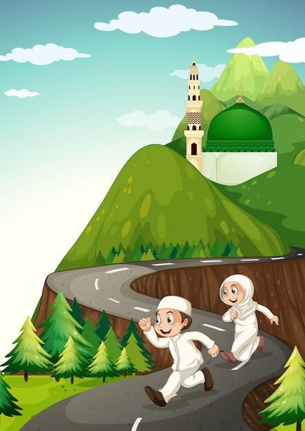 Couple Musulman Courant Sur La Route Vecteur gratuit