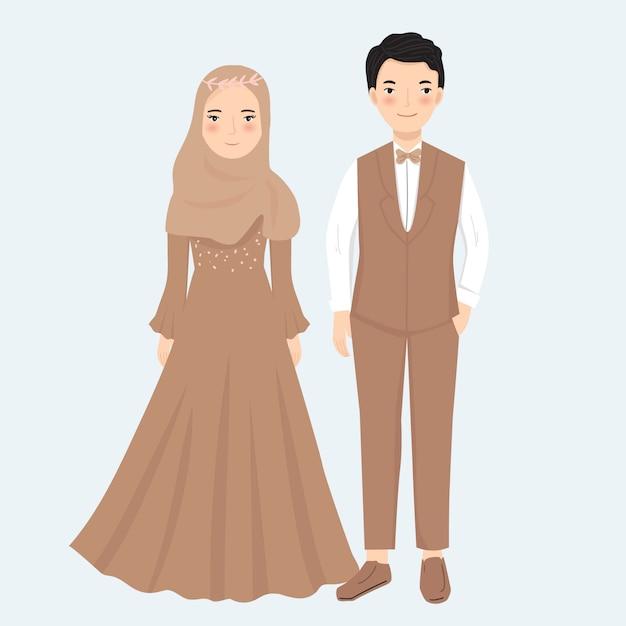 Couple Musulman En Illustration De Robe Formelle Vecteur Premium