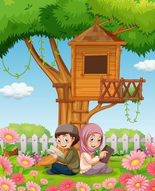 Couple musulman, lecture livres, dans parc Vecteur gratuit
