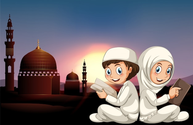 Couple musulman, lecture livres Vecteur gratuit