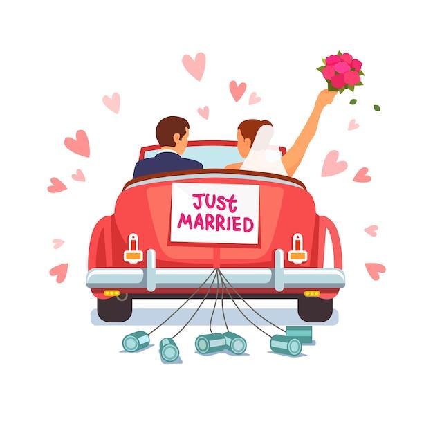 Le Couple De Newlywed Conduit La Voiture Pour Sa Lune De Miel Vecteur gratuit