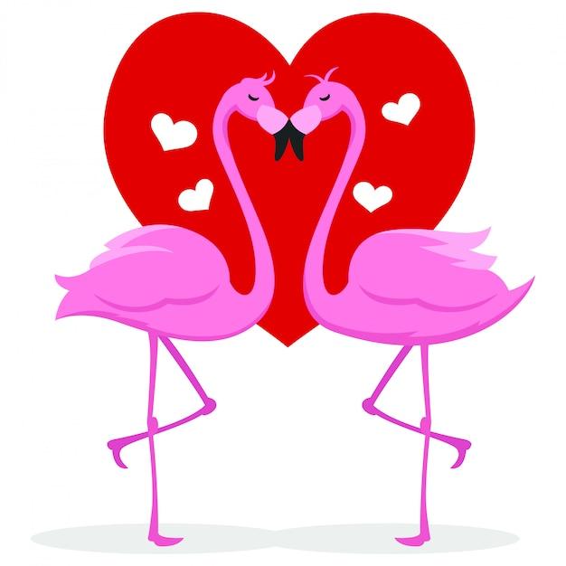 Couple, oie, s'embrasser, saint valentin Vecteur Premium