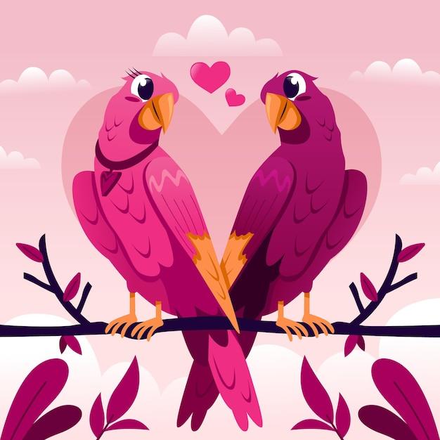 Couple D'oiseaux D'amour Mignon Saint Valentin Vecteur gratuit