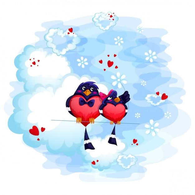 Un couple d'oiseaux amoureux est assis sur un nuage. carte de saint valentin. Vecteur Premium