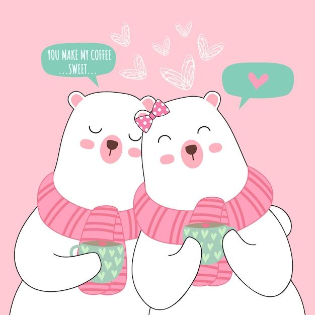 Couple d'ours blancs dessin animé mignon pour valentine Vecteur Premium