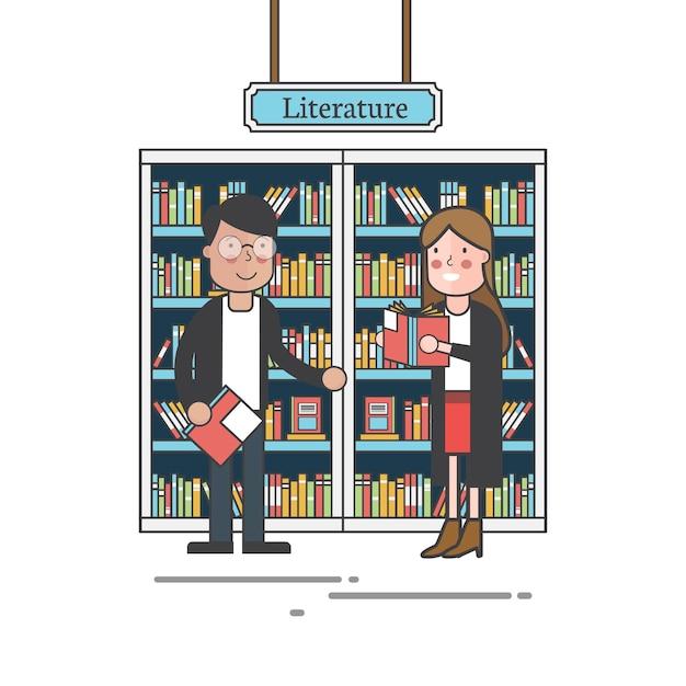 Couple par le vecteur d'étagères Vecteur gratuit