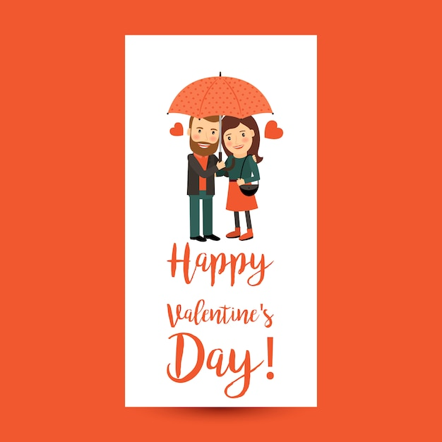 Couple Avec Parapluie Dépliant Saint Valentin Vecteur Premium