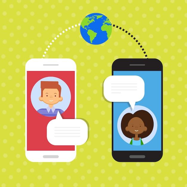 Couple parle cellulaire smart phone chat Vecteur Premium