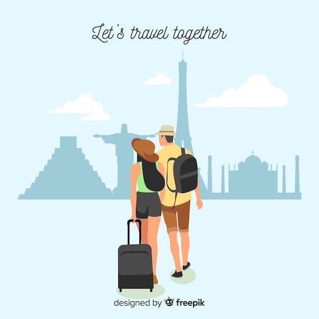 Couple partant en voyage Vecteur gratuit