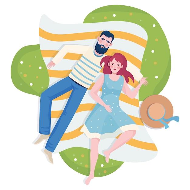 Couple, Passer Temps, Ensemble Vecteur Premium