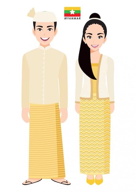 Couple De Personnages De Dessins Animés En Costume Traditionnel Du Myanmar Vecteur Premium