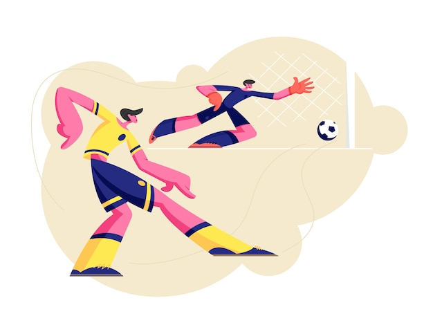Couple De Personnages De Jeunes Hommes En Uniforme De Sport Pratiquant Le Jeu De Football Vecteur Premium