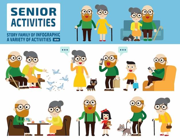 Couple de personnes âgées. éléments infographiques. Vecteur Premium