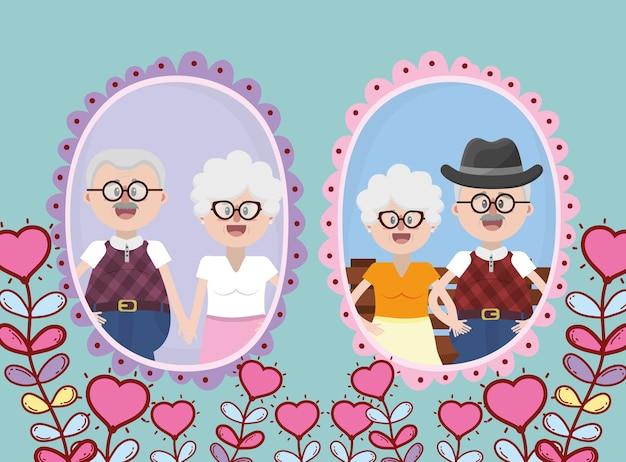 Couple de personnes âgées grands-parents Vecteur Premium