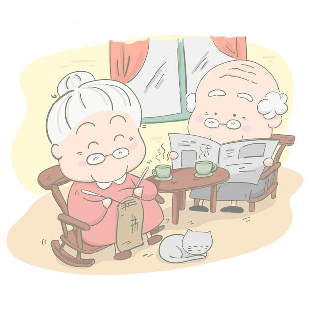 Couple de personnes âgées à la maison. elle tricote au crochet et il lit une nouvelle. illustration vectorielle Vecteur Premium