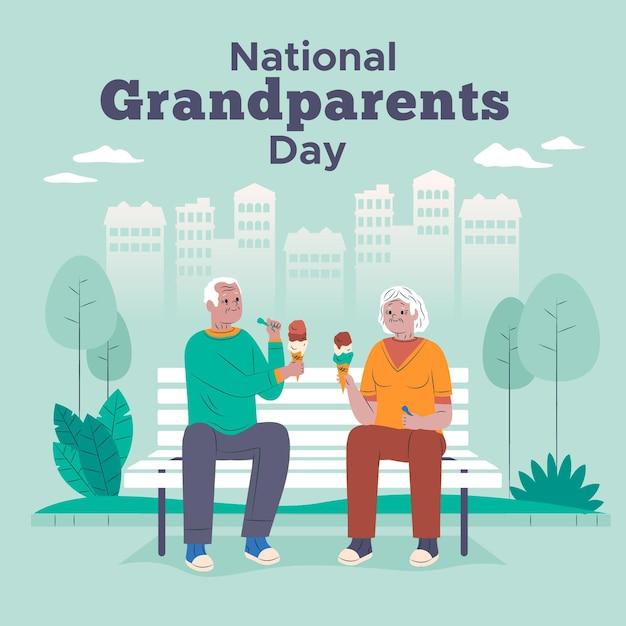 Couple De Personnes âgées Mangeant Des Glaces Journée Nationale Des Grands-parents Vecteur gratuit