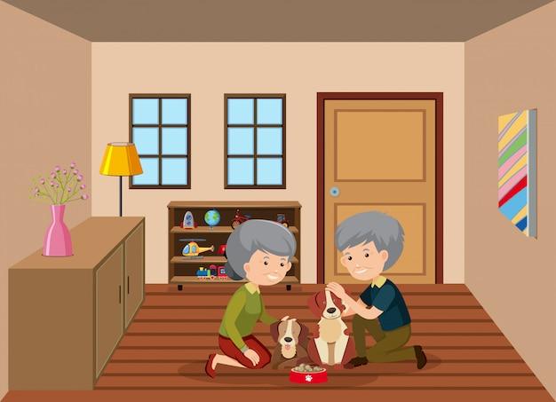 Couple de personnes âgées nourrir les chiens Vecteur Premium