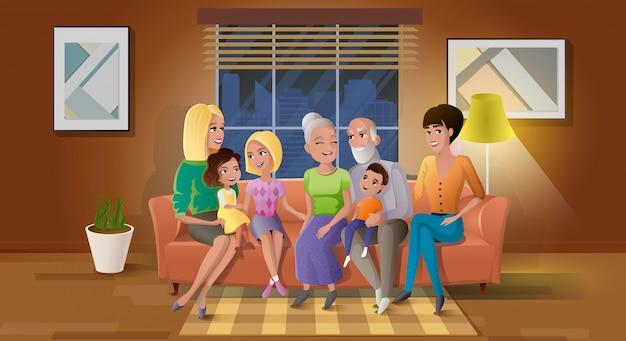 Couple de personnes âgées passant du temps avec les enfants vecteur Vecteur Premium