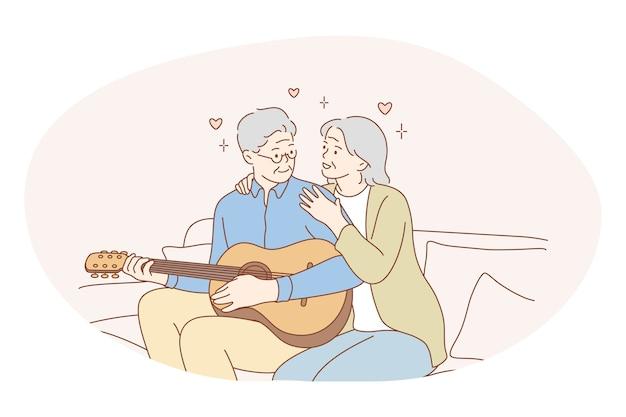 Couple De Personnes âgées Senior Vivant Concept De Mode De Vie Actif Heureux. Vecteur Premium