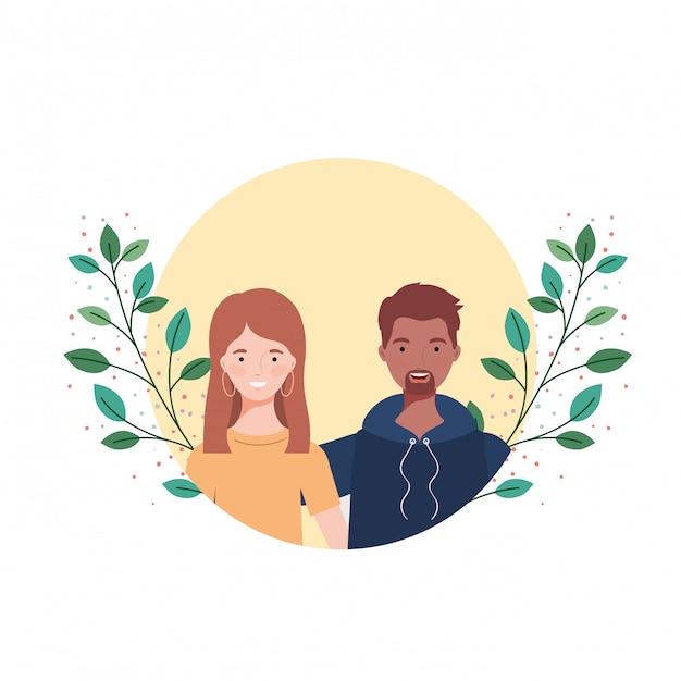 Couple de personnes avec paysage de branches et de feuilles Vecteur Premium