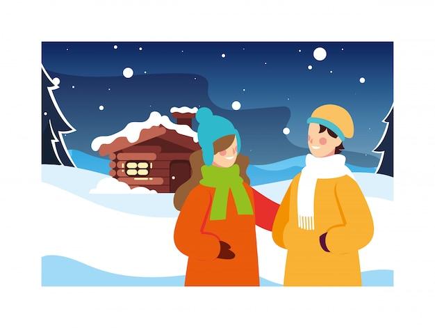 Couple De Personnes Avec Paysage D'hiver Et Maison Familiale Vecteur Premium
