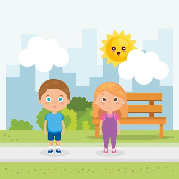 Couple de petits enfants dans les personnages du parc Vecteur gratuit