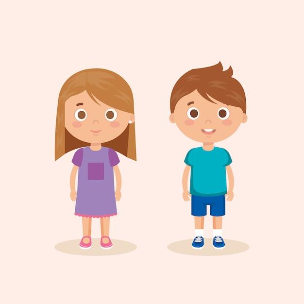 Couple de petits personnages Vecteur gratuit