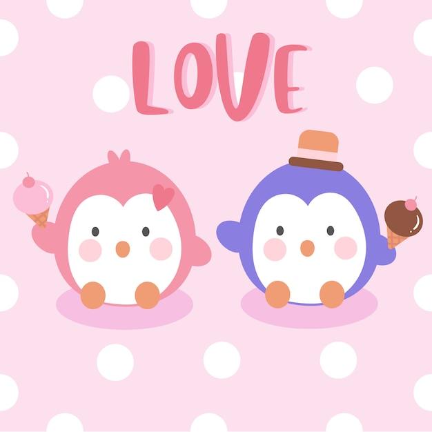 Couple De Pingouins Tenant Une Glace Vecteur Premium