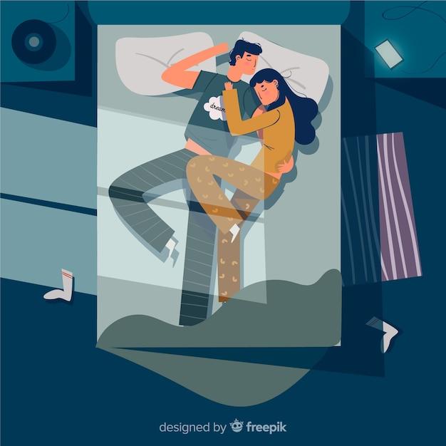 Couple plat dormant la nuit au fond du lit Vecteur gratuit