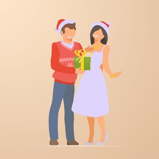 Couple, plat, vacances, noël, illustration Vecteur gratuit