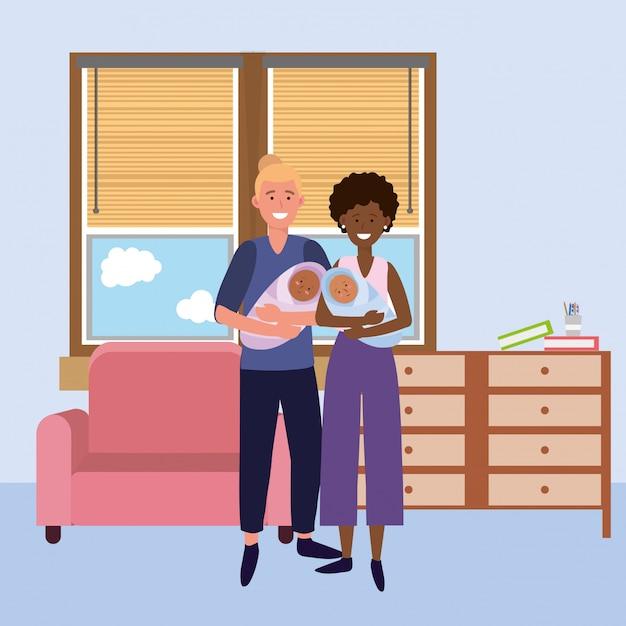 Couple portant des bébés Vecteur Premium