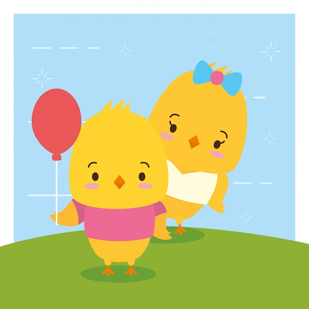 Couple de poussins, animaux mignons, style plat et cartoon, illustration Vecteur gratuit