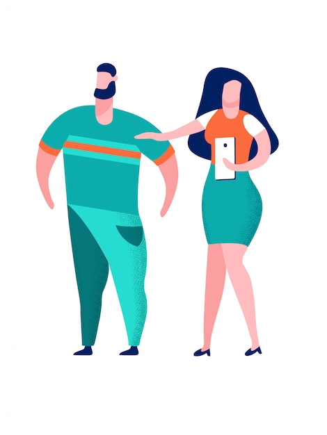 Couple prenant selfie cartoon illustration vectorielle Vecteur Premium