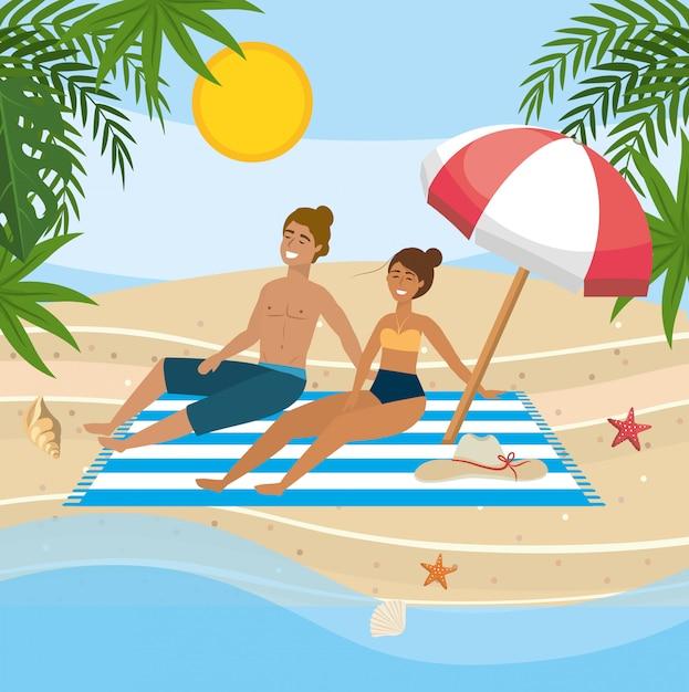 Couple prenant le soleil sur la plage Vecteur Premium