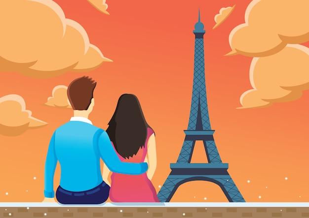 Couple profiter près de la tour eiffel dans l'après-midi. Vecteur Premium