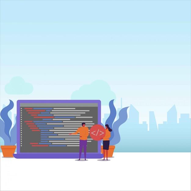 Un couple de programmeurs travaillent ensemble pour terminer le projet de programmation. Vecteur Premium