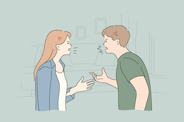 Couple, Querelle, Confit, Divorce, Concept De Stress Vecteur Premium