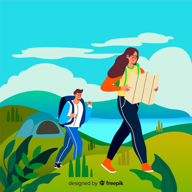 Couple en randonnée à la campagne Vecteur gratuit
