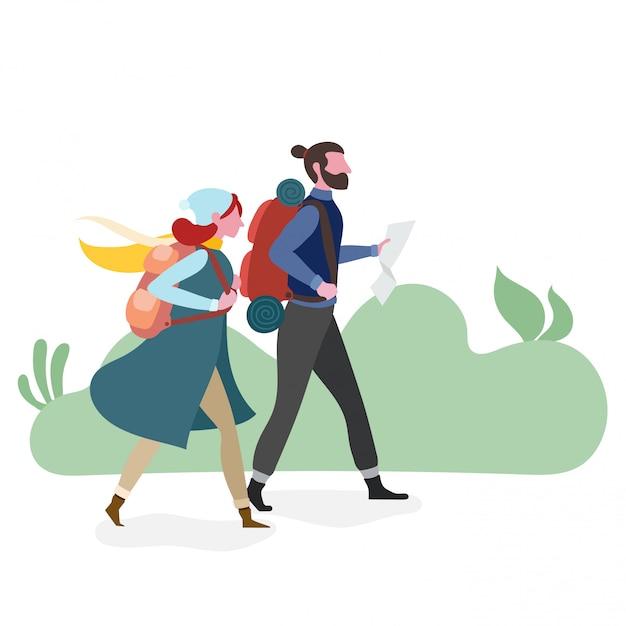 Couple, randonnée, ensemble Vecteur Premium