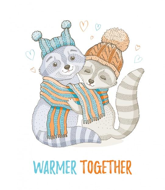 Couple de raton laveur de noël mignon. pour conception de cartes de vœux ou d'impression de t-shirts. Vecteur Premium