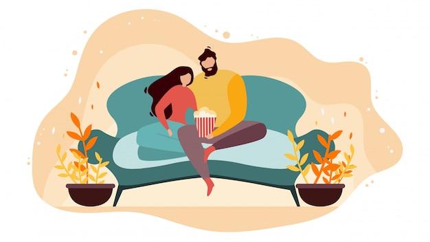 Couple, regarder film, à, plat, vecteur plat, concept Vecteur Premium