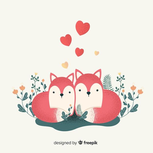 Couple de renards amoureux Vecteur gratuit