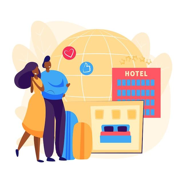 Couple Réservation Chambre D'hôtel Vecteur gratuit