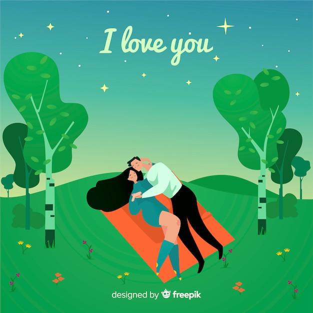 Couple romantique au fond du terrain Vecteur gratuit