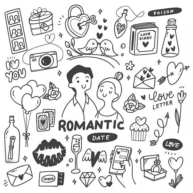 Couple Romantique Avec Des Griffonnages Mignons Vecteur Premium