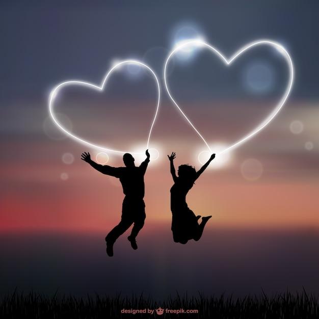 Couple Romantique Silhouettes Vecteur gratuit